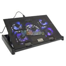 """5 Fan LED 12-17"""" Laptop Notebook Cooling Cooler Adjustable Stand Pad Black"""