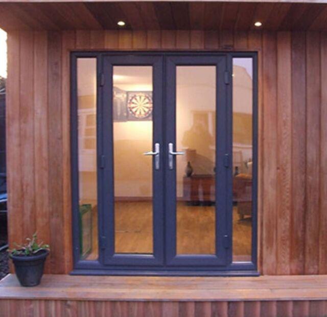 Grey On White Upvc French Patio Door 1190mm X 2090mm Ebay