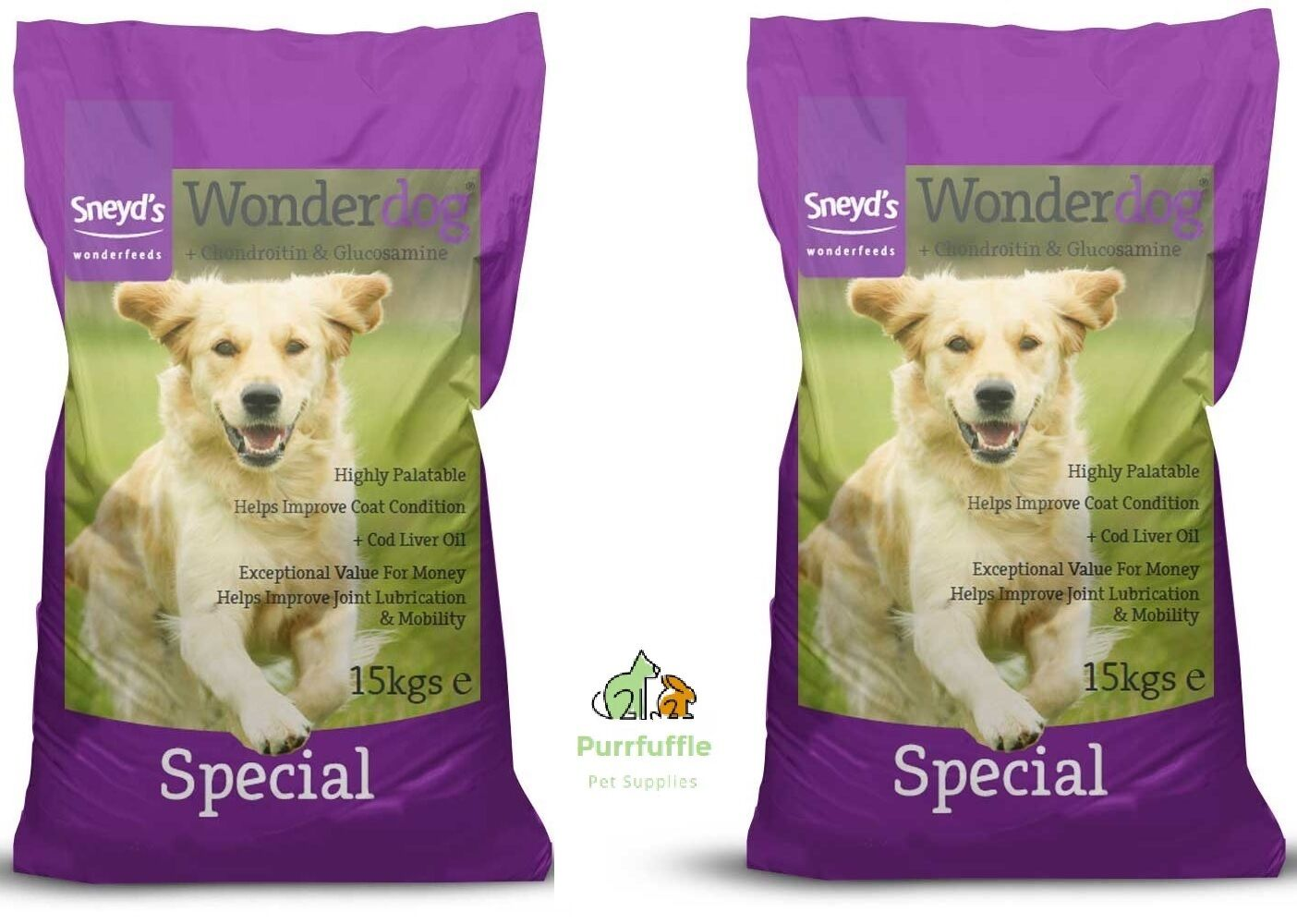 2x 15KG BAGS SNEYDS WONDERDOG SPECIAL DOG FOOD - COD LIVER OIL FOR JOINTS 30KG