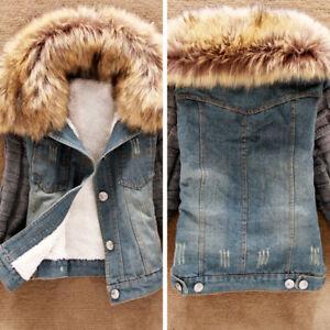 New Womens Denim Jacket Faux Fur Collar Ladies Jean Winter Coat