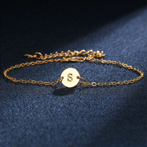New Women Gold Plated 26 Letters Bracelet Cuff Elegant Wristband Jewelry Gift