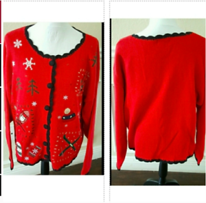 Ugly Christmas Sweater Size XL Red Skies Mittens Winter Cardigan Basic Editions