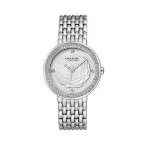 Anne Klein New York Silver Tone Swarovski Crystal Rose Dial Women's Watch NEW
