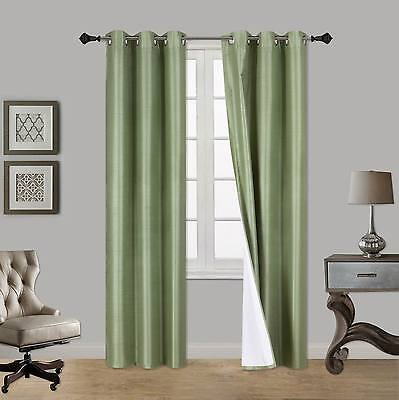 1 Set Light Filtering 100/% Privacy Lined Blackout Window Curtains N32 Sage Green