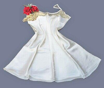N58 Knee Length Nighty Luxury Weight Glossy Satin Night Dress Ivory Size 18//20