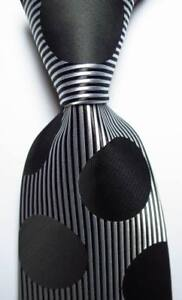 New-Classic-Striped-Dot-Black-White-JACQUARD-WOVEN-100-Silk-Men-039-s-Tie-Necktie