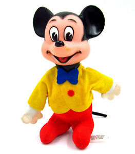 Vintage-60s-Walt-Disney-Mickey-Mouse-5-5-034-Vinyl-Plush-Wood-By-Product-Japan