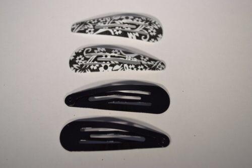 Black /& White Floral Print /& Plain Black Hair Bendies Snappy Clips 4 Piece Set