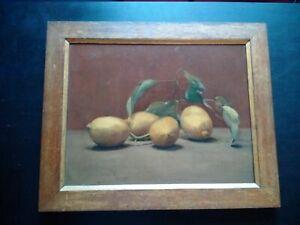 Superbe nature morte aux citrons huile sur toile 1920 - 1930 très bel état cadre