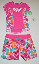 NWT Roxy Girls Rash Guard & board shorts Tankini Swimsuit UPF 2 pc set Size 8