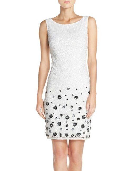 ADRIANNA PAPELL EMBELLISHED MESH SHEATH DRESS  sz 2