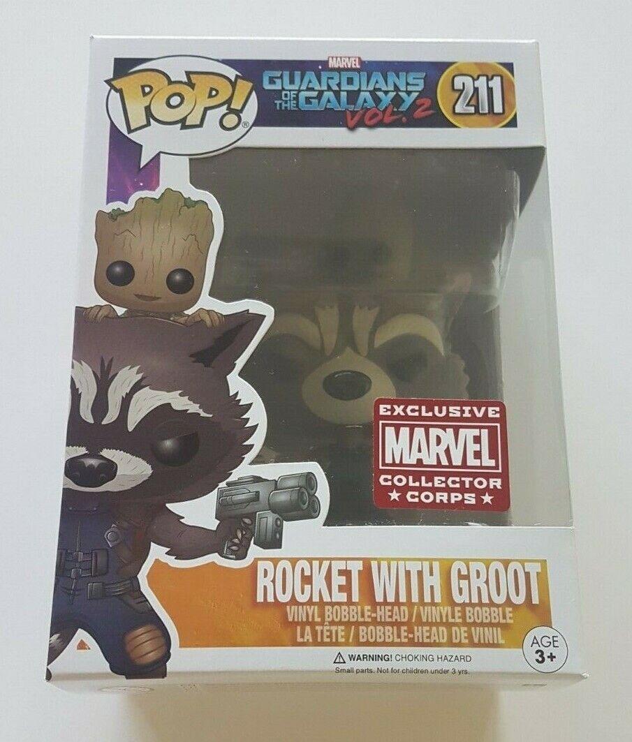 Funko Pop Marvel 211 Guardians of the Galaxy Rocket con Groot Coleccionistas Corps