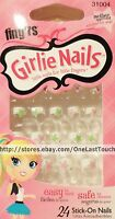 Fing'rs Girlie 24 Stick/press-on White Tips+stars Nails Pink+green 31004 2/3