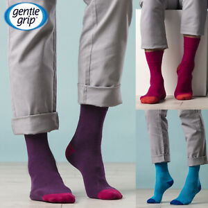 Gentle-Grip-6-Pairs-Mens-Non-Elastic-Soft-Top-Colourful-Bright-Cotton-Socks
