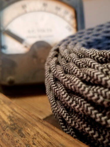 Black//Gray Pattern Vintage Style Fabric Lamp Cord Cloth Covered Twisted Wire