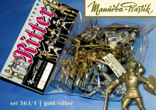 MANURBA GOLD SILBER MIX RITTER SET 563 KOMPL.16 FIG BEUTEL MIT PLASTIK FIGUREN