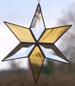Bleiverglasung Fensterbild Suncatcher Facetten- Stern 16,5 cm in Tiffany