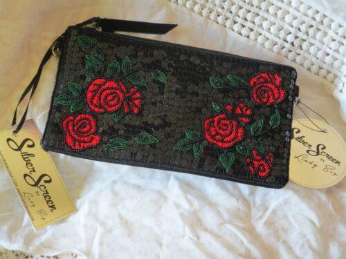 Style Lindy Perlé Roses Sac Bop Chain Noir Silver Années 1920 Clutch Rouge New 30 Années SXrqzS