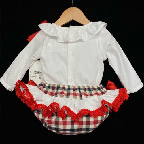 AW20 Wee me baby girl rouge espagnole vérifié Jam Pantalon Set Froncé Dos MYD200R
