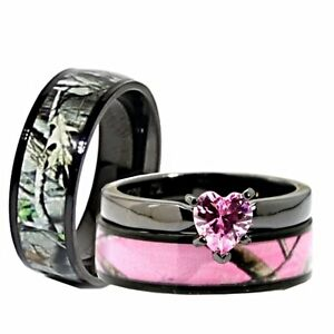 His Her Black Pink Titanium Camo Heart Stainless Steel Engagement Wedding Ri