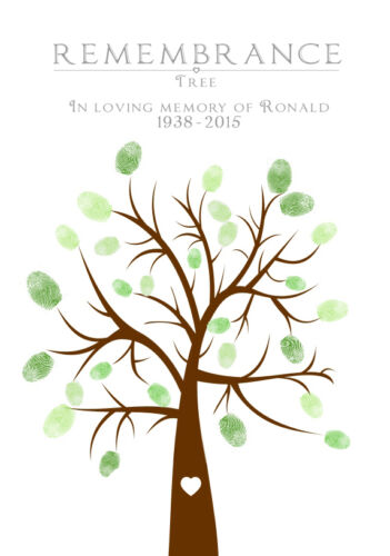 PERSONALISED FUNERAL MEMORIAL FINGER PRINT TREE GUEST BOOK ALTERNATIVE