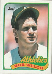 FREE-SHIPPING-MINT-1989-Topps-605-Bob-Welch-Athletics