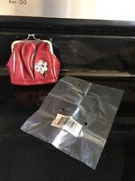 Miche Coin Purse Karen Red With Flower Kiss Lock Closure Discontinued Nip