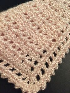 HAND CROCHET MINIATURE DOLLHOUSE  BLANKET Light Pink New Thread!!!!