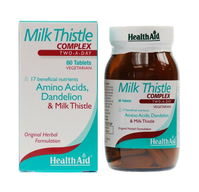 HEALTHAID MILK THISTLE COMPLEX 60 VEGETARIAN TABLETS - TWO-A-DAY - FREE UK P&P
