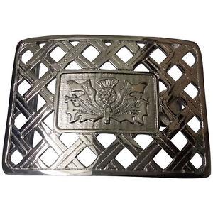 Highland Scottish Kilt Belt Buckle Latice Thistle Design Antique//Chrome Finish