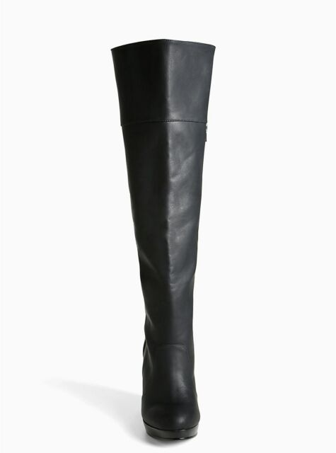 1dbfccdfb9a Torrid Over The Knee Wedge Boots Wide Width   Wide Calf Black 7  85523