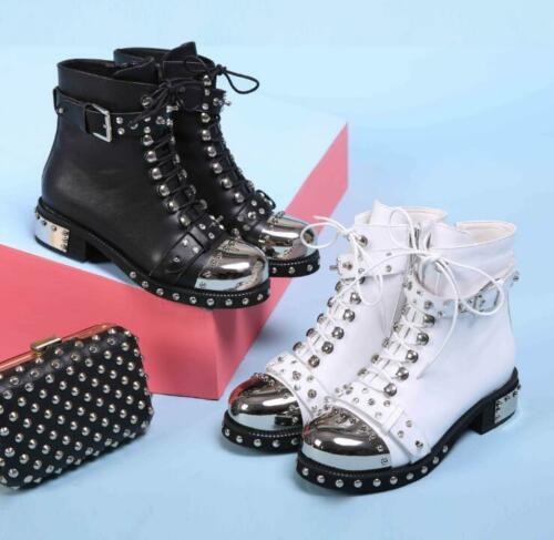 Womens Punk Shoes Real Leather Rivets Lace up Chunky Low Heel Biker Ankle Boots
