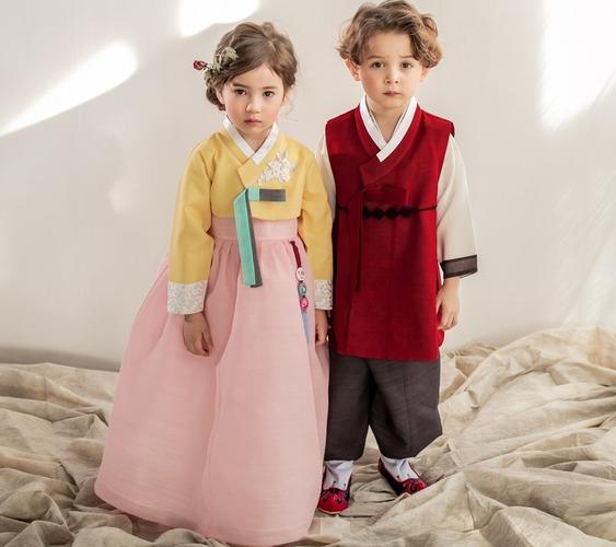 Children Korean Princess Traditional Costumes Dancing Hanbok Performance Dress