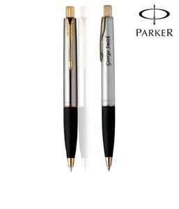 Personalised-Engraved-Parker-Frontier-Stainless-Steel-GT-Ball-Point-Pen-Gift-Box