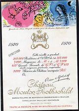 PAUILLAC 1EGCC ETIQUETTE CHATEAU MOUTON ROTHSCHILD 1970 75 CL DECOREE §06/02/17§