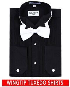 Berlioni-Italy-Men-039-s-Italian-Tuxedo-Wingtip-Collar-W-Bow-tie-Dress-Shirt-Black