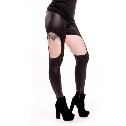 Cupcake Cult Cutout Leggings Ladies Black Pvc Goth Emo Punk