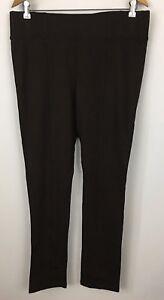 Dressbarn-Dark-Brown-Legging-Pants-Ponte-Knit-Size-L
