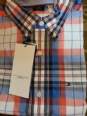 Tommy Hilfiger Men/'s Magnet Button Down Long Sleeve Plaid Shirt Slim Fit L.$79
