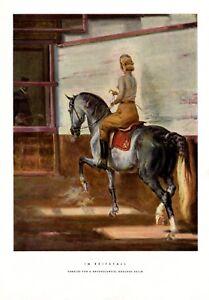 Im Reitstall XL Druck 1941 A. Braunschweig München Solln reiten Pferd Reiterin +
