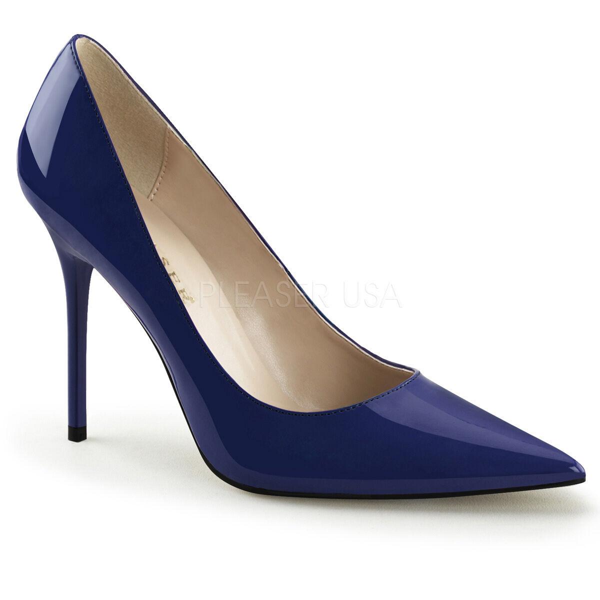 PLEASER CLASSIQUE-20 NAVY BLUE PATENT CLASSIC STILETTO HEEL COURT Schuhe