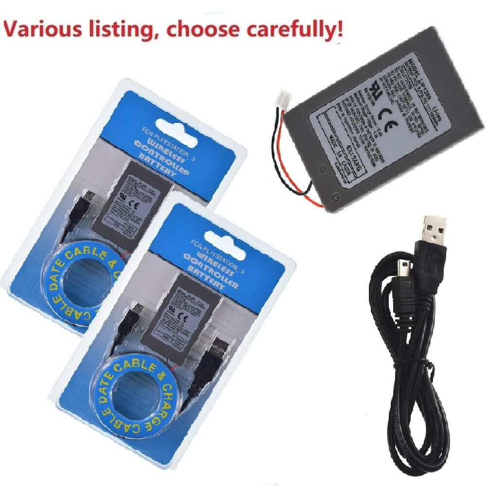 Wireless Controller Battery Replacement+cable for Sony PS3 Bluetooth Controller