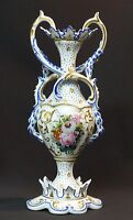 1880 porcelaine de Paris grand vase 790g32cm décor floral lianes or chic déco