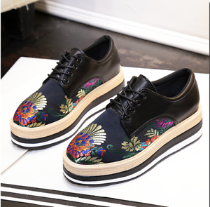 fad8b953ac6 Image is loading Womens-leather-embroidery-Platform-Flats-lace-up-Brogues-