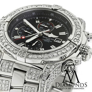 bc229348346 Image is loading Breitling-Super-Avenger-Black-A13370-Covered-Over-13Ct-