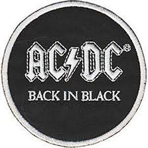 Ac-Dc-Back-In-Black-Redondo-con-Plancha-para-Coser-Tela-Parche-Cv