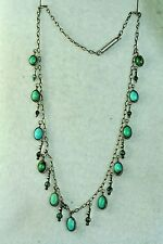 VICTORIAN ANTIQUE STERLING SILVER DANGLING TURQUOISE CHOKER NECKLACE