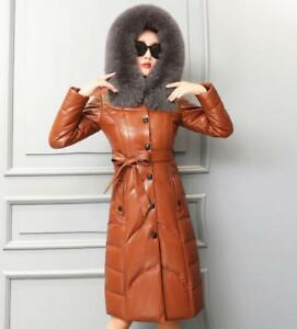 Sheepskin Women Luxury Coat 96 Duck Down Fur Sbox1 Long Real Parka Leather 0gwgdZq
