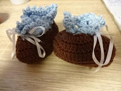 Babyschühchen Puppenschühchen Gehäkelt Baumwolle Braun Hellblau