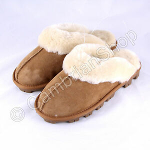 7b77cc777a9 Details about Kirkland Signature Ladies Womens Shearling Suede Slippers  Chestnut Brown